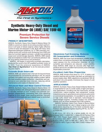 Synthetic Heavy-Duty Diesel and Marine Motor Oil (AME) SAE 15W-40