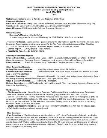 March 2012 Minutes - Lakecomobeachpoa.com