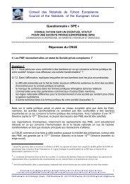 SPE » - Consultation sur un éventuel statut pour une ... - CNUE