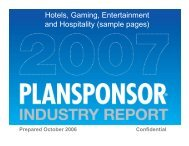 Hotels, Gaming, Entertainment and Hospitality ... - PlanSponsor