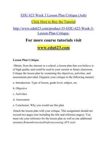 EDU 623 Week 3 Lesson Plan Critique (Ash)