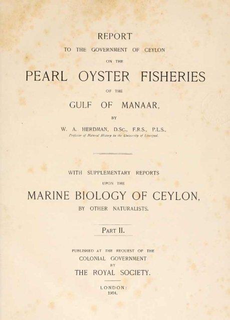 PEARL OYSTER FISHERIES MARINE BIOLOGY OF CEYLON,