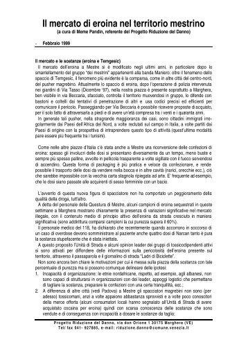 Il mercato di eroina nel territorio mestrino - Comune di Venezia