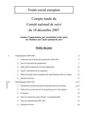Compte rendu du Comité national de suivi du 18 décembre 2007