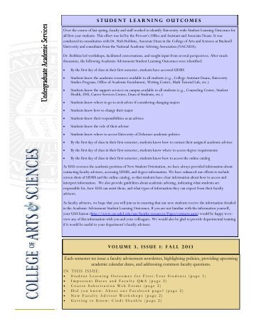 Fall 2013 Newsletter I.pdf - College of Arts and Sciences - University ...