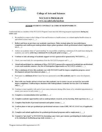 Student contract - College of Arts and Sciences
