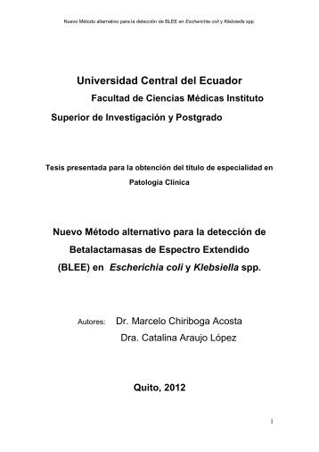 (BLEE) en Escherichia coli y Klebsiella spp. - Universidad Central ...