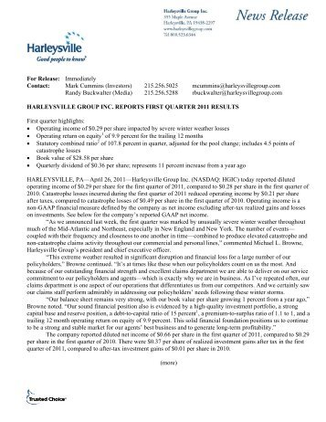 For Release: Immediately Contact: Mark Cummins (Investors ...
