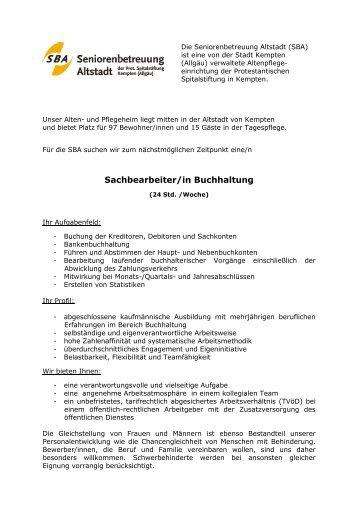 Sachbearbeiter/in Buchhaltung - Seniorenbetreuung Altstadt