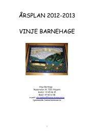 ÅRSPLAN 2012-2013 VINJE BARNEHAGE - Hemne kommune