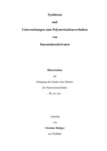 Synthesen und Untersuchungen zum Polymerisationsverhalten von ...