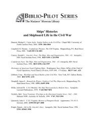 Ships' Histories and Shipboard Life in the Civil War - Mariners ...