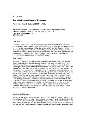 Charlotte kerner blueprint blaupause lezen voor de lijst der autor der inhalt leseanweisungen lezen voor de lijst malvernweather Image collections