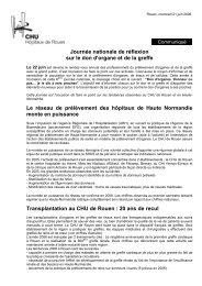 Journée nationale de réflexion sur le don d'organe ... - CHU de Rouen