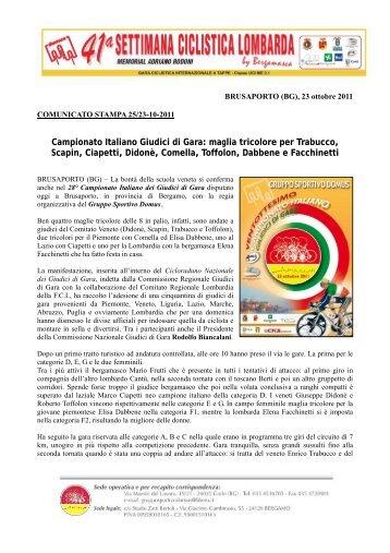 Campionato Italiano Giudici di Gara - Settimana Ciclistica Bergamasca