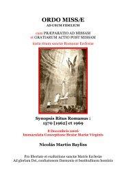 Synopsis Ritus Romanus. 1570 [1962] et 1969