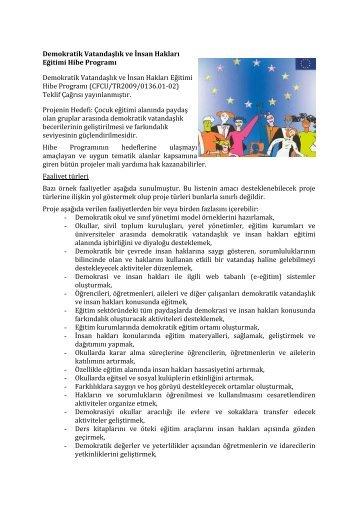 Demokratik Vatandaşlık ve İnsan Hakları Eğitimi Hibe Programı ...