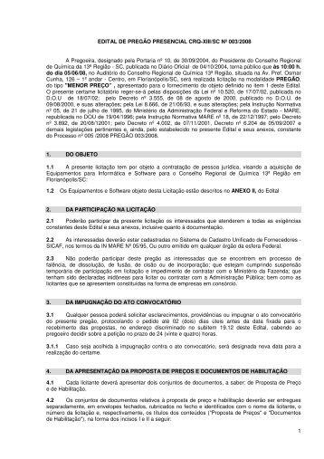 1 EDITAL DE PREGÃO PRESENCIAL CRQ-XIII/SC Nº ... - WebPack