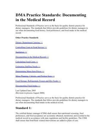 DMA Practice Standards: Documenting in the Medical Record - Iowa ...