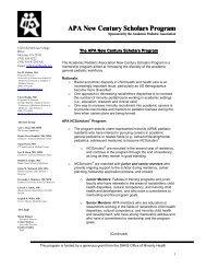 APA New Century Scholars Program - Academic Pediatric Association