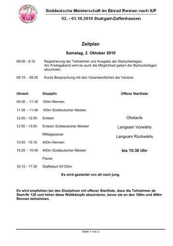Zeitplan - Einrad im BDR