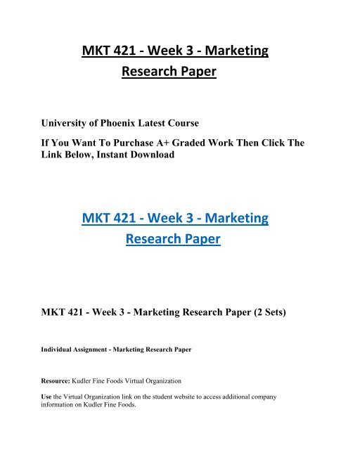 marketing research paper kudler fine foods virtual organization