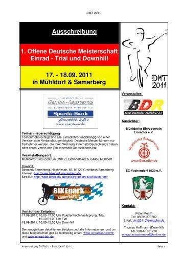 Ausschreibung 1. Offene Deutsche Meisterschaft ... - Einrad im BDR