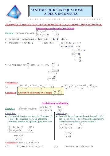 SYSTEME DE DEUX EQUATIONS A DEUX INCONNUES