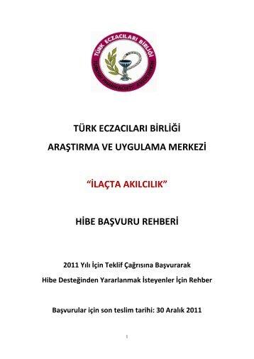 Başvuru Rehberi için Tıklayınız... - Türk Eczacıları Birliği