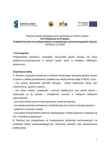 Program praktyk pedagogicznych realizowany w ... - nkjo.bydgoszcz.pl