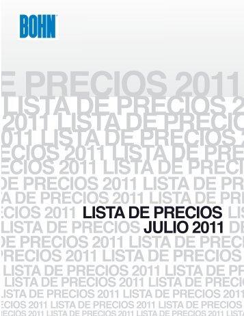 CIOS 2011 LISTA DE PRECIOS 2011 - Bohn