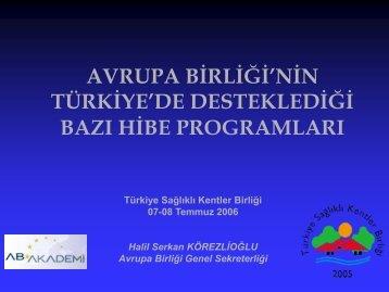 avrupa birliği'nin - Türkiye Sağlıklı Kentler Birliği
