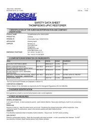 SAFETY DATA SHEET THOMPSON'S uPVC RESTORER - Toolbank