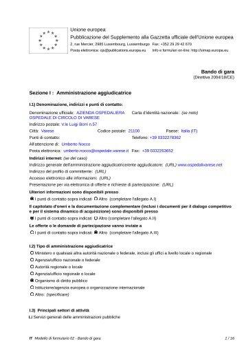 Bando di gara - Ospedale di Circolo e Fondazione Macchi