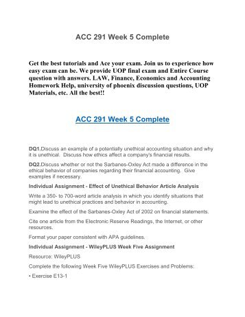 ACC 291 Week 5 Complete UOP HomeWork Tutorial