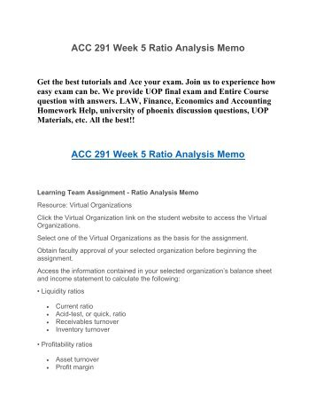 ACC 291 Week 5 Ratio Analysis Memo UOP HomeWork Tutorial