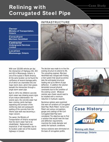 Relining with Corrugated Steel Pipe - Armtec