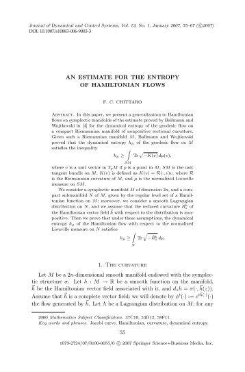 An estimate for the entropy of Hamiltonian flows - LSIS