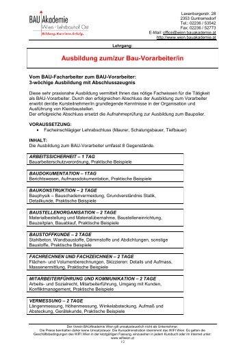 Ausbildung zum/zur Bau-Vorarbeiter/in - Bauakademie Wien