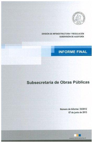 INFORME FINAL Subsecretaría de Obras Públicas