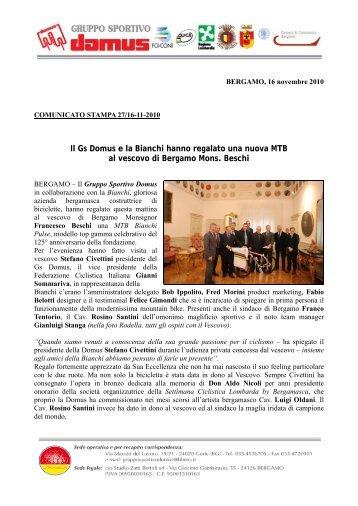 Il Gs Domus e la Bianchi hanno regalato una nuova MTB al vescovo ...