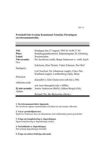 1995-08-27 - Svenska Kommunal-Tekniska Föreningen