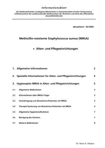 Methicillin-resistente Staphylococcus aureus (MRSA) Alten- und ...