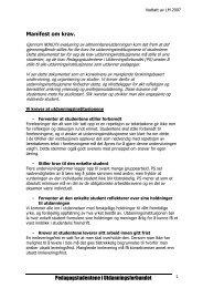 Manifest om krav - Pedagogstudentene