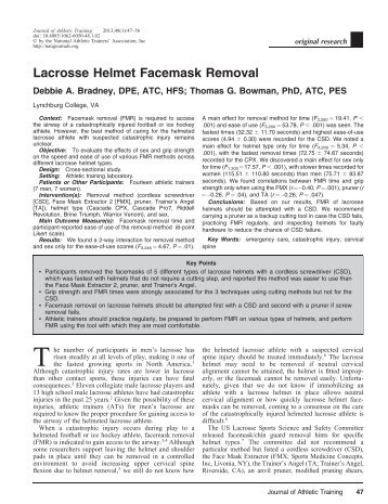 Lacrosse Helmet Facemask Removal - ResearchGate