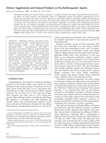 Dietary Supplements and Natural Products as Psychotherapeutic ...