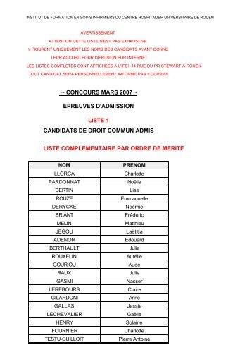 concours mars 2007 ~ liste complementaire par ... - CHU de Rouen
