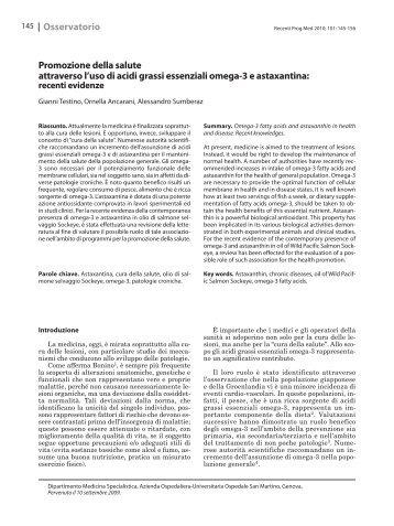 Promozione della salute attraverso l'uso di acidi grassi essenziali ...