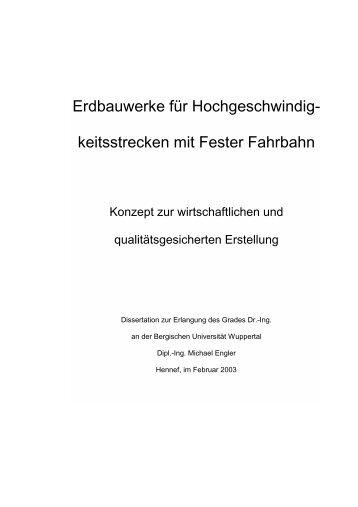 Erdbauwerke für Hochgeschwindig- keitsstrecken mit Fester Fahrbahn