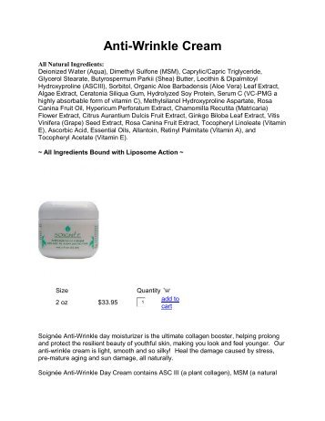 Anti-Wrinkle Cream - Green Dragon Superfoods